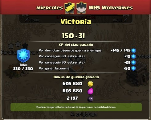 registro de guerra de clash of clans